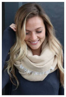 "Panache Accessories Infinity Scarf Circle Scarves Fringe Edge 30""x27"" Tan"