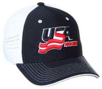 USA Hockey Baseball Cap Hat Embroidered Logo Adjust Ventilated Back Navy/White