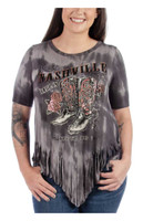 Liberty Wear Women's Nashville Darlin' Fringe Top Shirt Tee Cowboy Boots 7765N