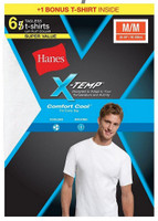 Hanes Men's X-Temp Comfort Cool Crew Neck T-Shirt Undershirt Tee 6 Pack 2535X6