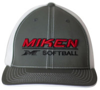 Miken 404M Softball Trucker Flex Fit Hat Cap Baseball Mesh Back Gray/White