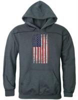 Rapid Dominance Men's Vertical USA Flag Pullover Hoodie Hoody American Slate