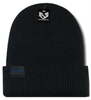 Rapid Dominance Thin Blue Line USA Flag Label Knit Beanie Fallen Police Officers