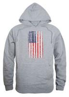 Rapid Dominance Men's Vertical USA Flag Pullover Hoodie Hoody American Gray