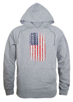 Rapid Dominance Men's Vertical USA Flag Pullover Hoodie Hoody American Gray