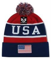 Rapid Dominance USA Flag Label Knit Beanie Fallen United States American Patriot