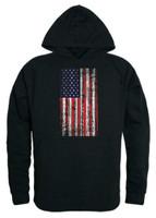 Rapid Dominance Men's Vertical USA Flag Pullover Hoodie Hoody American Black