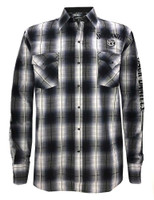 Jack Daniels Men's Textured Plaid Embroidery Snap Shirt Western Whiskey Liquor