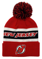 Adidas Men's New Jersey Devils NHL Hockey Knit Hat Beanie Skull Cap Winter Pom