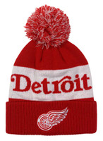 Adidas Men's Detroit Redwings NHL Hockey Knit Hat Beanie Skull Cap Winter Pom