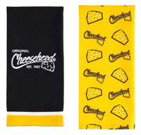 Original Cheesehead Graphic Textile Tea Towels- Set of 2, Gold & Black 4DTS5070A