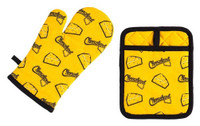Original Cheesehead Oven Mitt & Pot Holder Set - Gold & Black P1095070
