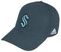 Adidas Mens Seattle Kraken Flex Fit Hat Baseball Cap HNL Hockey WA