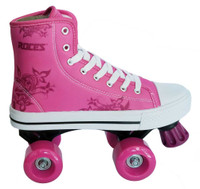 Roces Girls Casual Quad Roller Skate Pink Front Stopper Sneaker Style