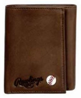 Rawlings Play Ball Tri-fold Wallet Baseball Detail Genuine Leather Brown 479-200