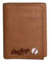Rawlings Play Ball Tri-fold Wallet Baseball Detail Genuine Leather Tan 479-200