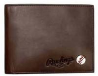 Rawlings Play Ball Bi-fold Wallet Baseball Detail Genuine Leather Brown 486-200