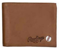 Rawlings Play Ball Bi-fold Wallet Baseball Detail Genuine Leather Tan MW486-204