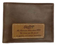 Rawlings American Story Patch Bi-fold Wallet Baseball Genuine Leather Brown