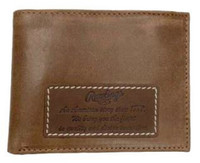 Rawlings American Story Patch Bi-fold Wallet Baseball Genuine Leather Tan