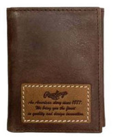 Rawlings American Story Patch Tri-fold Wallet Baseball Genuine Leather Brown