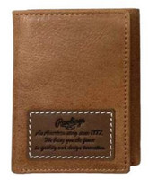 Rawlings American Story Patch Tri-fold Wallet Baseball Genuine Leather Tan