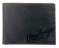 Rawlings High Grade Debossed Bi-fold Wallet Baseball Red Stitch Leather Black