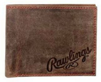 Rawlings High Grade Debossed Bi-fold Wallet Baseball Red Stitch Leather Brown