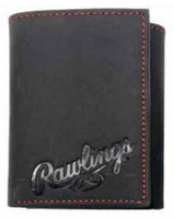 Rawlings High Grade Debossed Tri-fold Wallet Baseball Genuine Leather Black