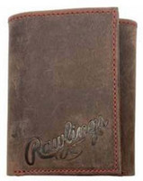 Rawlings High Grade Debossed Tri-fold Wallet Baseball Genuine Leather Brown