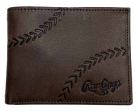 Rawlings Debossed Baseball Stitch Bi-fold Wallet Baseball Genuine Leather Brown