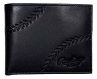 Rawlings Debossed Baseball Stitch Bi-fold Wallet Baseball Genuine Leather Black