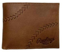Rawlings Debossed Baseball Stitch Bi-fold Wallet Baseball Genuine Leather Tan