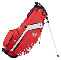 """Wilson Staff Feather Carry Bag Straps 5 Divider 9.5 x 7"""" Top Rain Hood Red/White"""