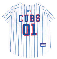Pets First MLB Chicago Cubs Screen Printed Baseball Dog Jersey - White/Blue