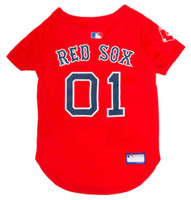 Pets First MLB Boston Red Sox Screen Printed Baseball Dog Jersey - Red/Blue