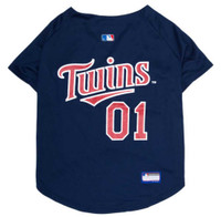 Pets First MLB Minnesota Twins Screen Printed Baseball Dog Jersey - Blue/Red
