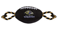 Pets First Baltimore Ravens Tough Nylon Rope & Squeaker Football Dog Toy - Black