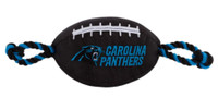 Pets First Carolina Panthers Tough Nylon Rope & Squeaker Football Dog Toy, Black