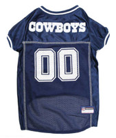 Pets First NFL Dallas Cowboys Screen Printed Mesh Dog Jersey - Navy Blue