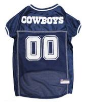 Pets First NFL Dallas Cowboys Screen Printed Mesh Dog Jersey - Navy Blue