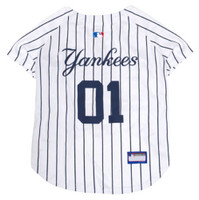 Pets First MLB New York Yankees Screen Printed Baseball Dog Jersey - White/Blue