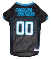 Pets First NFL Carolina Panthers Screen Printed Mesh Dog Jersey - Black & Blue