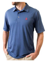 Southern Seam Kenzley Embroidered Short Sleeve Golf Polo Shirt - Smoke Blue