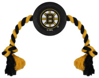 Pets First Boston Bruins Rubber Hockey Puck and Tough Rope Pet Toy – Black