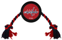 Pets First Washington Capitals Rubber Hockey Puck and Tough Rope Pet Toy – Black