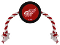 Pets First Detroit Red Wings Rubber Hockey Puck and Tough Rope Pet Toy – Black