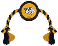 Pets First Nashville Predators Rubber Hockey Puck and Tough Rope Pet Toy – Black