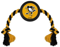 Pets First Pittsburgh Penguins Rubber Hockey Puck and Tough Rope Pet Toy – Black