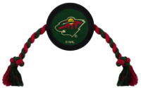Pets First Minnesota Wild Rubber Hockey Puck and Tough Rope Pet Toy – Black